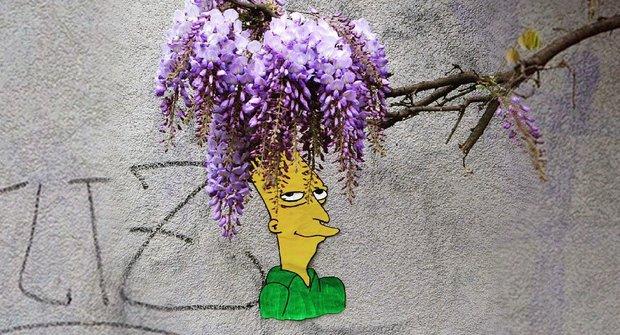 Křivák Bob ze Simpsonových je ve Francii: Na zdi má nový jarní účes
