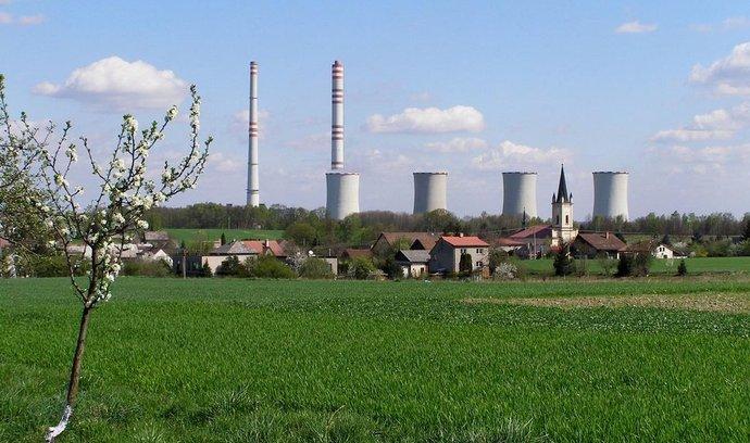 Obec Dětmarovice s uhelnou elektrárnou