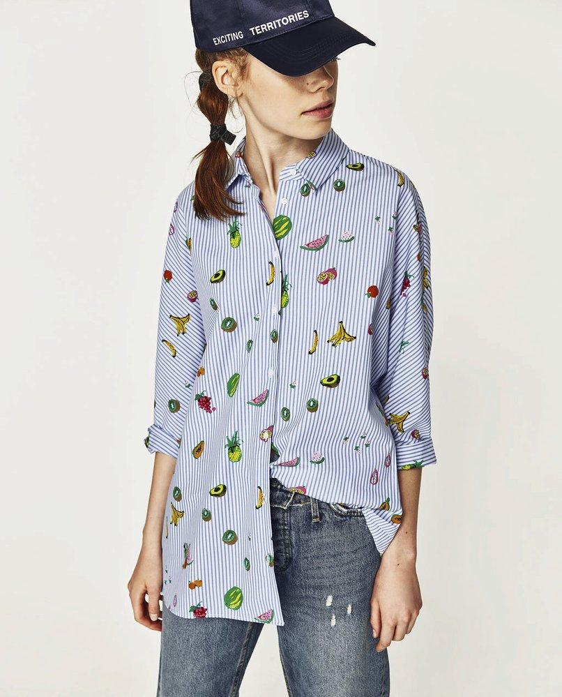 Pruhovaná košile s ovocem, Zara, 599 Kč