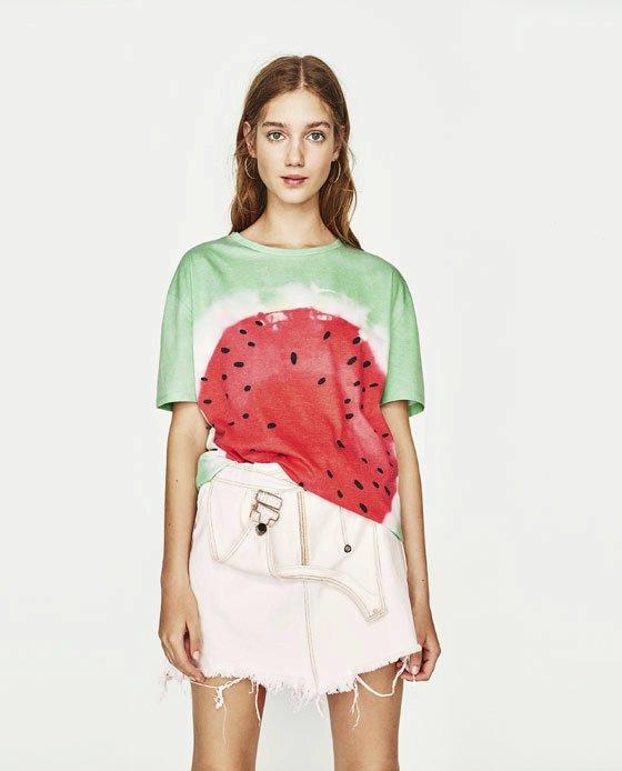 Oversized tričko s melounem, Zara, 399 Kč