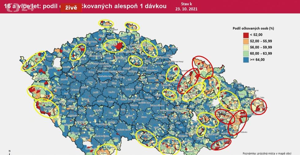 Mapa obcí v Česku s nízkou proočkovaností (říjen 2021)