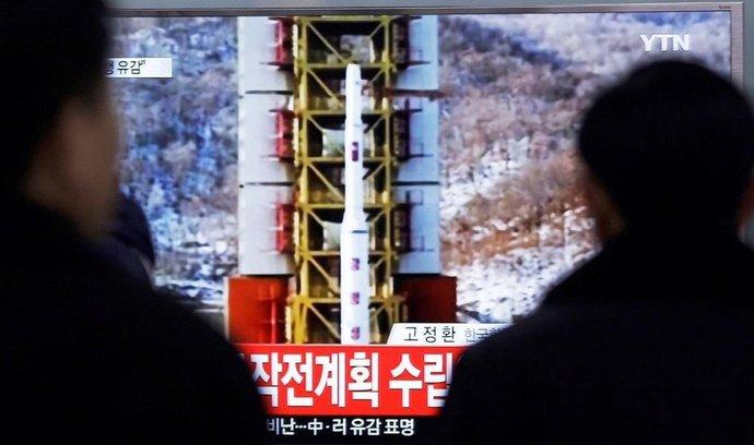odpálení severokorejské rakety v jihokorejské televizi
