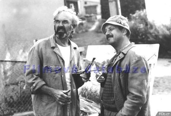 Agronom Jaromír ve Vesničce se Zdeňkem Svěrákem. (1985)