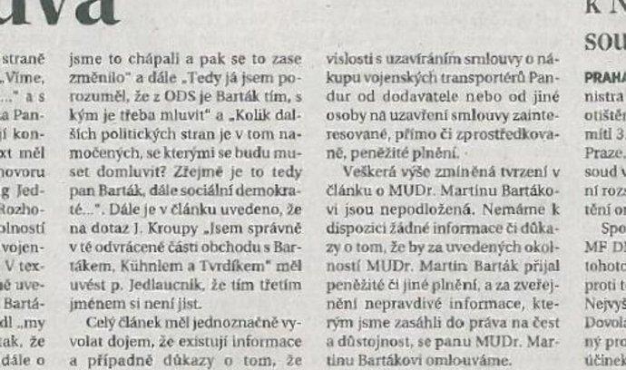 Omluva deníku Dnes exministru obrany Bartákovi