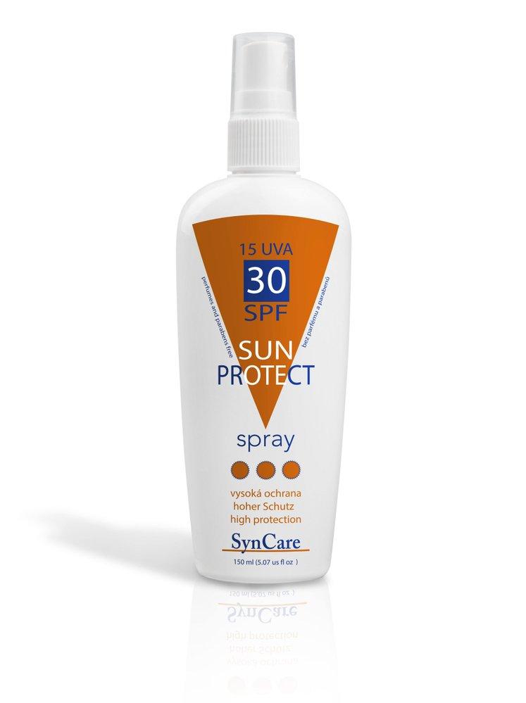 Ochranný sprej proti slunci Sun Protect, Syncare, SPF 30, k dostání v lékárnách a kosmetických studiích nebo na syncare.cz, 248 Kč/ 150 ml