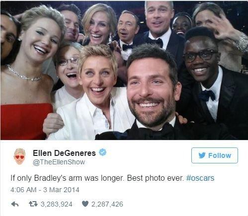 Slavná oscarová selfie Ellen deGeneres