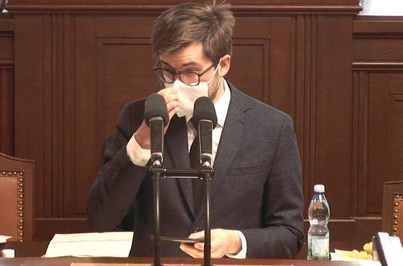 Pirát Jakub Michálek během projednávání pandemického zákona (18.2.2021)