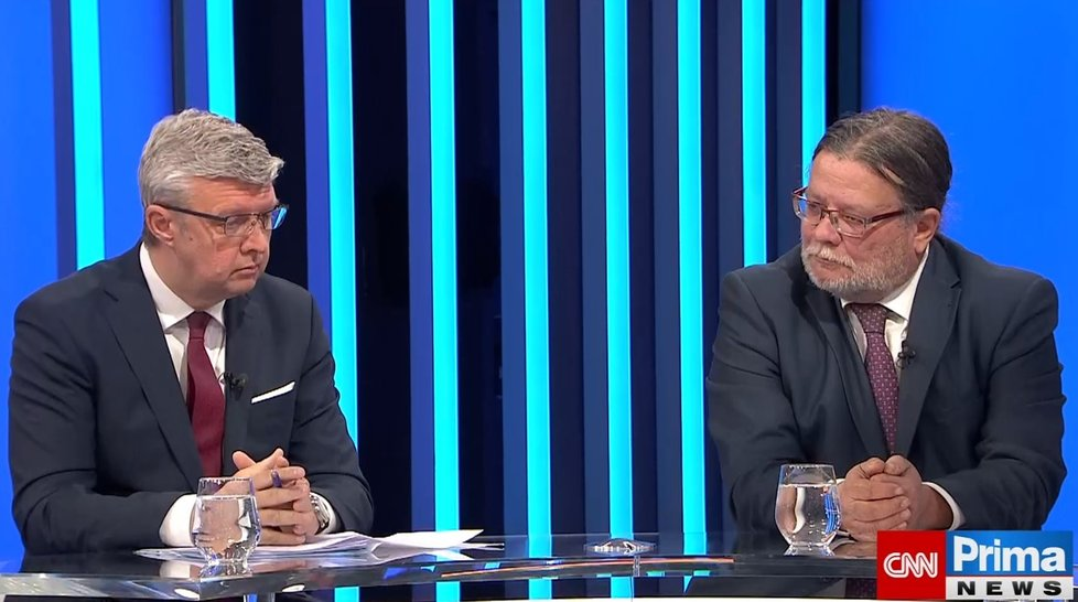 Karel Havlíček (ANO) a Alexander Vondra (ODS) v Partii na CNN Prima News (17.10.2021)