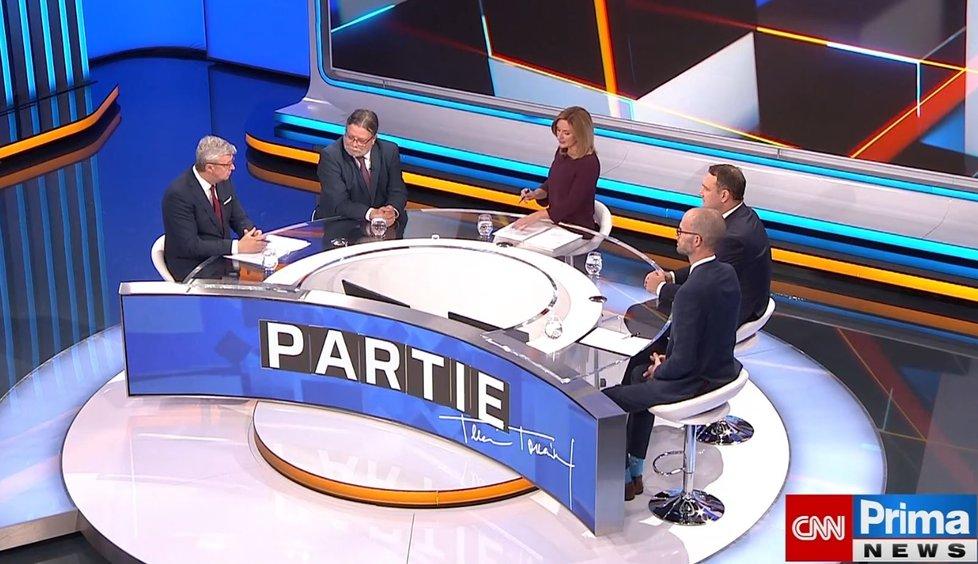 Karel Havlíček (ANO), Alexander Vondra (ODS), Radim Fiala (SPD) a Martin Jiránek (Piráti) v Partii na CNN Prima News (17.10.2021)