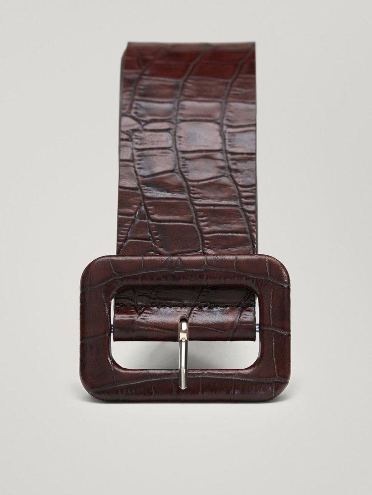 Kožený pásek s efektem krokodýlí kůže, Massimo Dutti, 1395 Kč