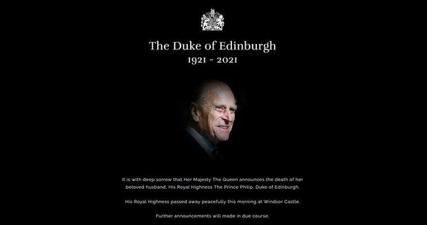 Oznámení smrti prince Philipa