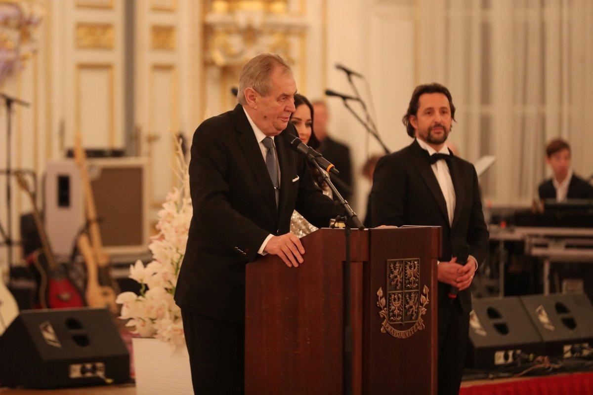 Prezident Miloš Zeman během projevu při zahájení pátého charitativního plesu na Pražském hradě. (10.01.2020)