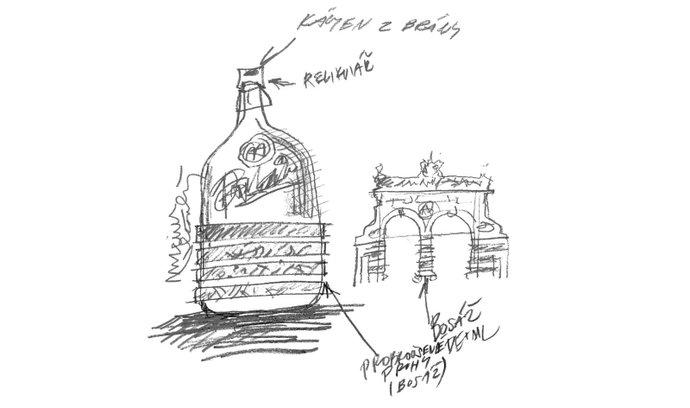 Skica aukčních lahví pro Plzeňský Prazdroj od Maxima Velčovského
