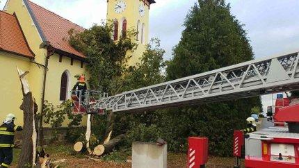 V Kostěnicích na Pardubicku nalomený strom ohrožoval místní kapličku.