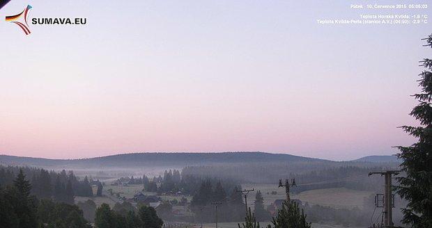 V sobotu ránu hned na několika místech Šumavy a Jizerských hor mrzlo.