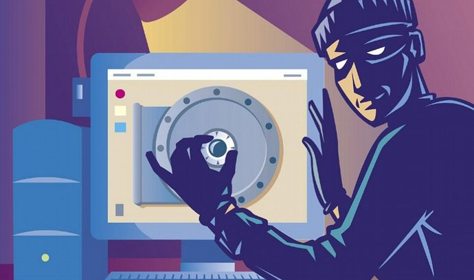 Počítačový zloděj, podvodník; ilustrační grafika