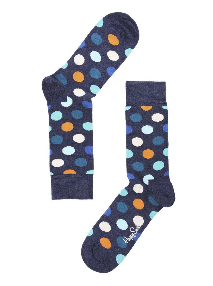 Modré unisex ponožky s barevnými puntíky Happy Socks Big Dots, Zoot, 249 Kč
