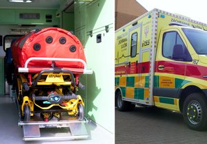 An ambulance of Prague rescuers, each cabin and outpatient areas can be completely isolated from the surroundings.