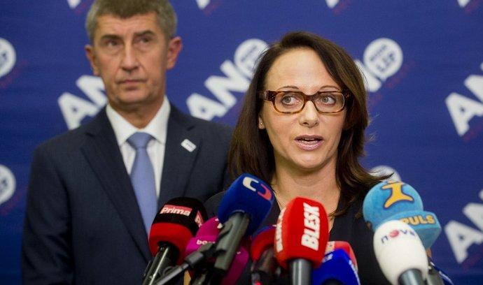 Předseda hnutí ANO Andrej Babiš a kandidátka na pražskou primátorku Adriana Krnáčová