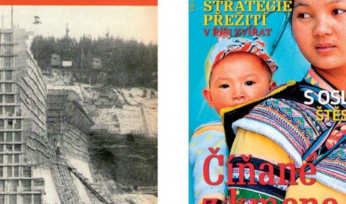 Pro srovnání: Titulní strana prvního čísla Lidé a Země z dubna 1952 a nejnovější obálka z března 2012