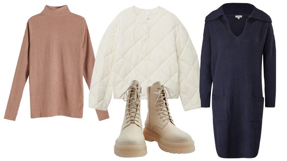 Tipy na nákupy: šaty s.Oliver, 2499 Kč, tričko s vysokým stojáčkem Reserved, 499 Kč; bunda Mango, 1299 Kč, boty Reserved, 1299 Kč