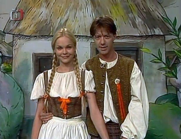 S Jiřím Langmajerem ve Zpívánkách (Teče voda proti vodě) v roce 1997.