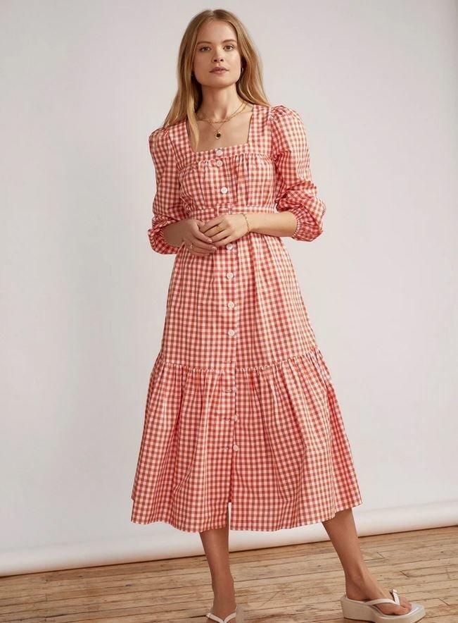 Midi šaty s gingham kostkou, Kitri Studio, 165 GBP