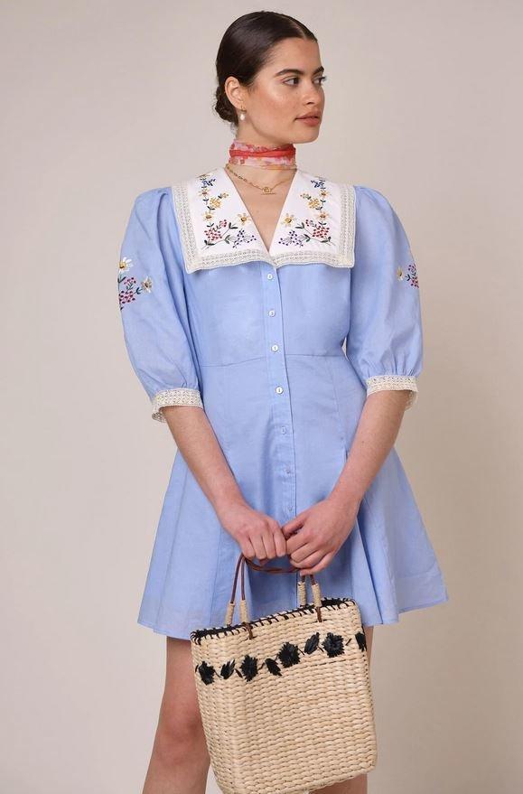 Šaty s vyšívaným límečkem, Rixo London, 265 GBP