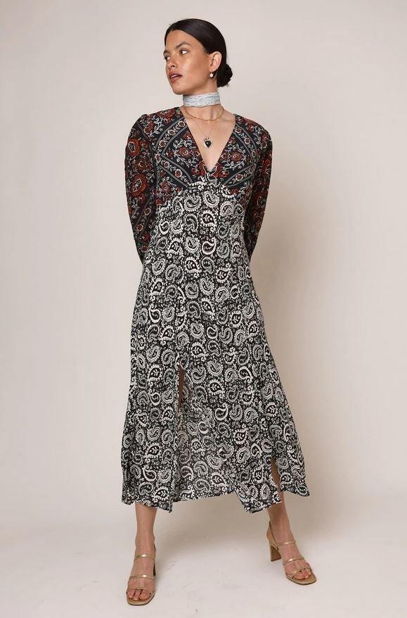 Vzorované midi šaty, Rixo London, 295 GBP