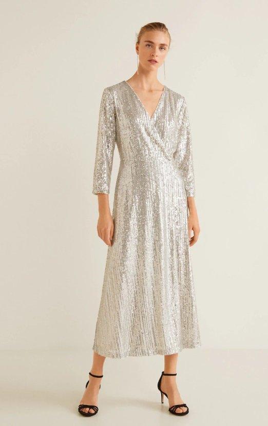 Dlouhé šaty s flitry, Mango, 1999 Kč