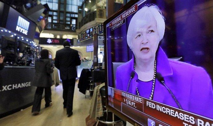 Šéfka amerického Fedu Janet Yellenová na obrazovce newyorské burzy