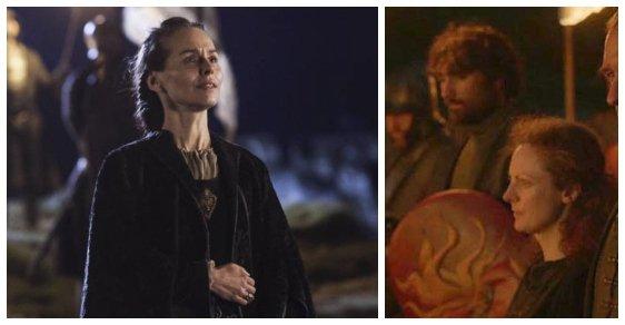 Selyse Baratheon. Postavu manželky Stannise Baratheona sehráli dvě herečky. Sarah McKeeverová (vpravo) a Tara Fitzgeraldová.