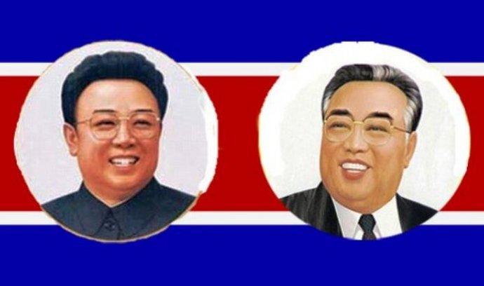 Severokorejští vůdci Kim Čong-il a Kim Ir-sen