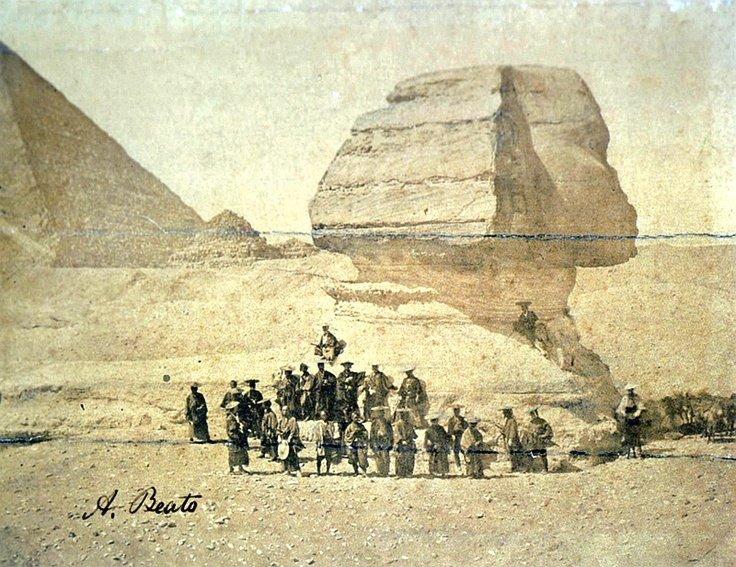 Skupina samurajů před egyptskou sfingou, 1864