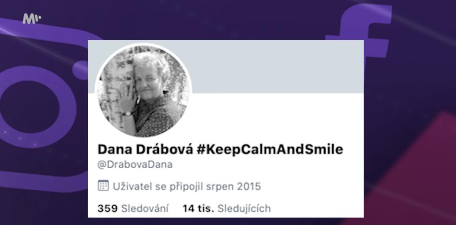 Dana Drábová a její twitterový účet.
