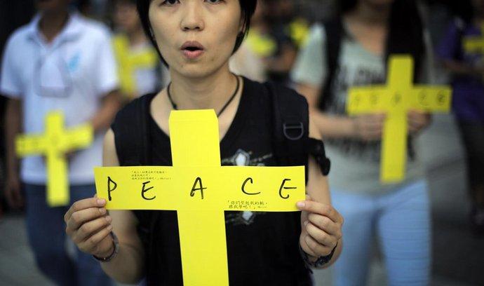 Sobotní protesty v Hongkongu