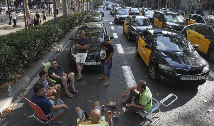 Protesty taxikářů ve Španělsku