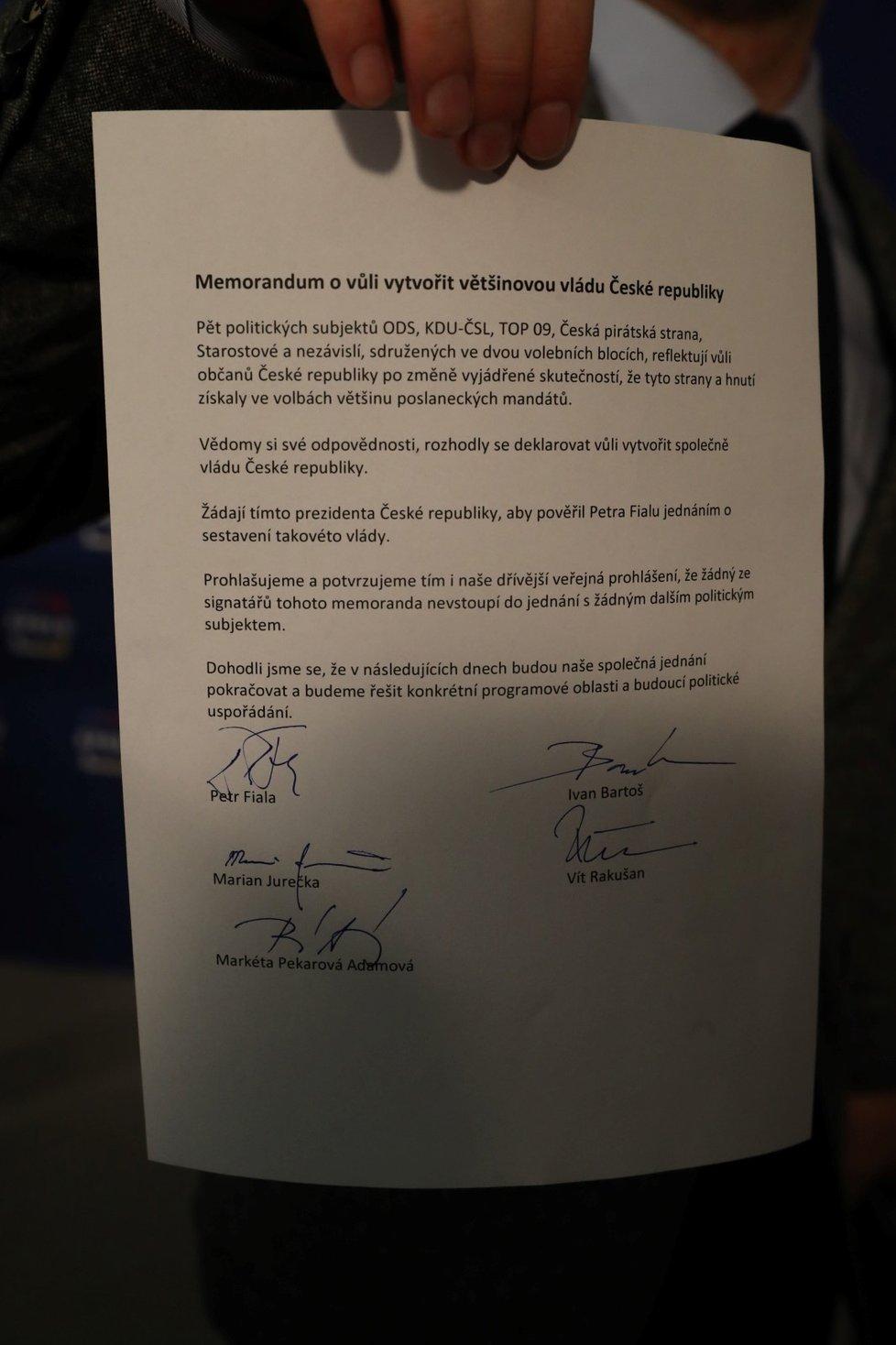 Volby do Sněmovny 2021: Memorandum pěti stran (9.10.2021)