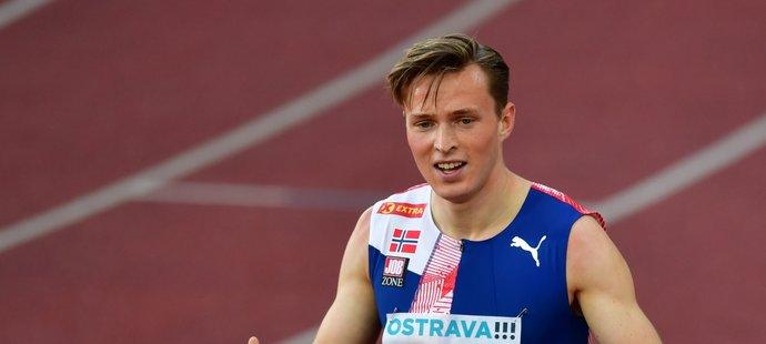 Karsten Warholm vyhrál na Zlaté tretře v Ostravě závod na 400 m překážek, ale na světový rekord nedosáhl