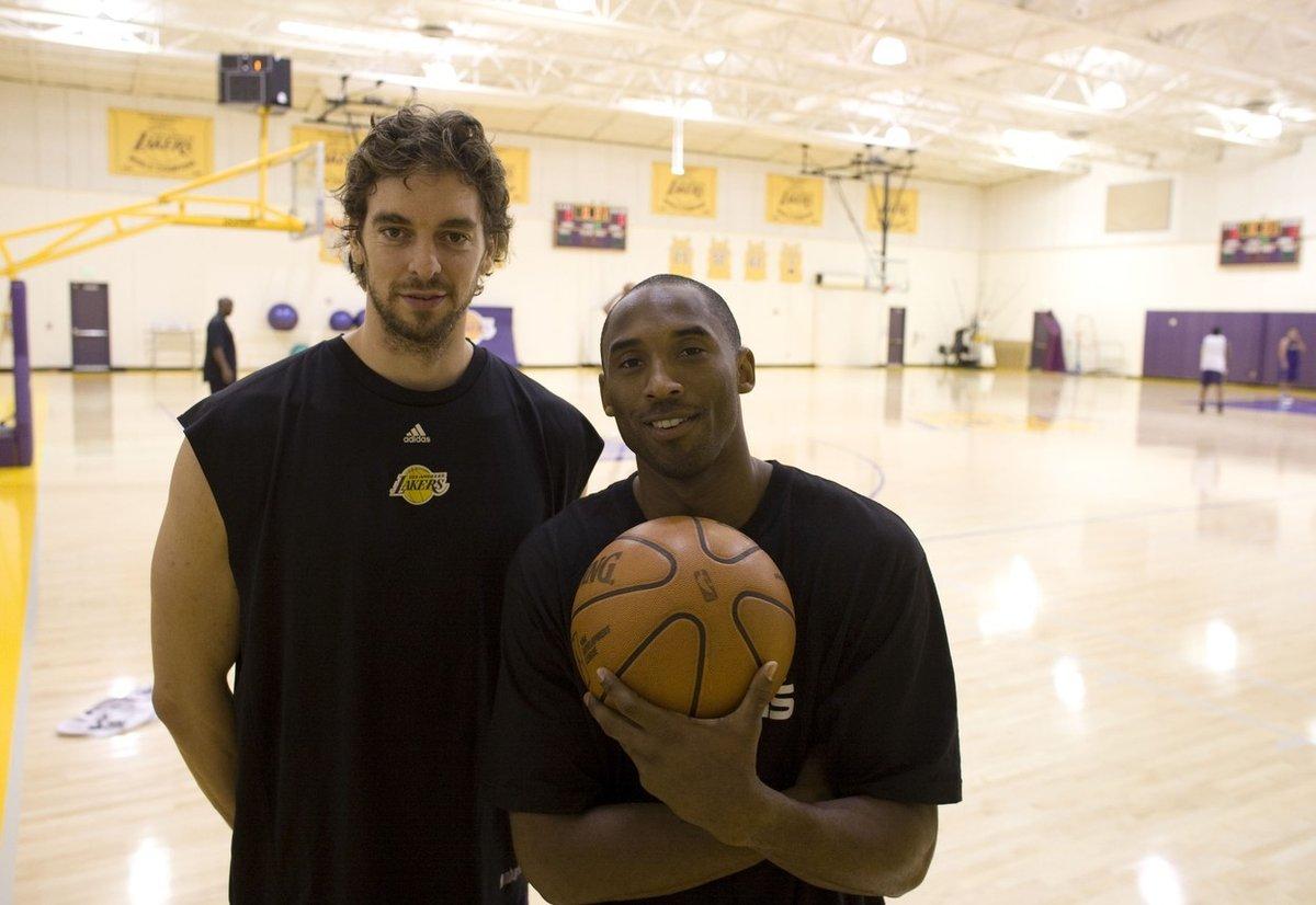 Kobe Bryant a Paul Gasol na tréninku Lakers