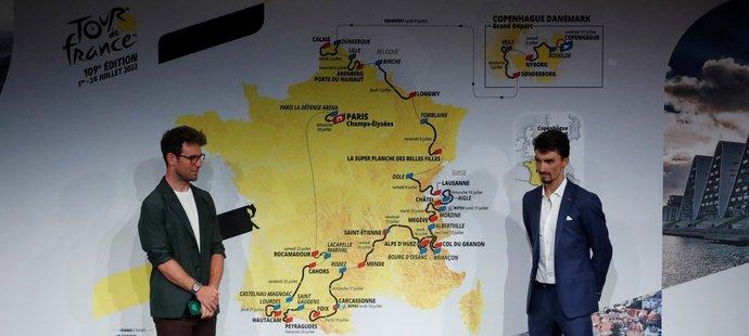 Mark Cavendish a Julian Alaphilippe při představení trasy Tour de France 2022