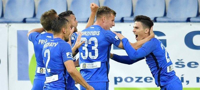 Gólová radost fotbalistů Liberce, kteří porazili Mladou Boleslav a připsali si první výhru v sezoně