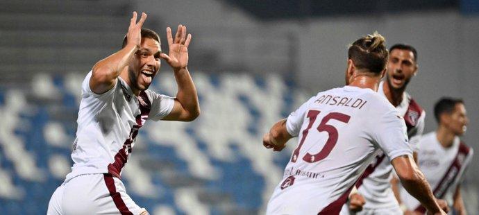 Turínský útočník Marco Pjaca slaví trefu do sítě Sassuola, jež znamenala výhru 1:0 pro FC