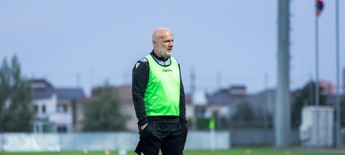 Trenér Michal Bílek na tréninku před utkáním Plzně proti Brestu