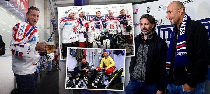 Někdejší vynikající čeští fotbalisté pilně trénují i na ledě, sledoval je legendární Jaromír Jágr