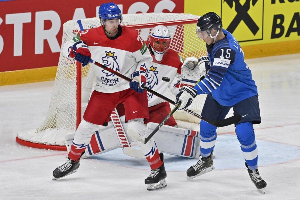 Anton Lundell v zápase MS 2021 proti Česku