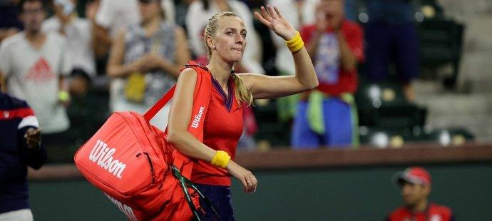 Česká tenistka Petra Kvitová po vyřazení v utkání proti Viktorii Bělorusce Azarenkové na turnaji Indian Wells