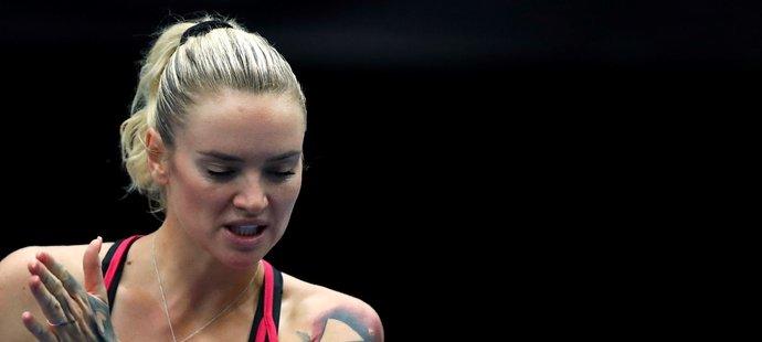 Česká tenistka Tereza Martincová během utkání na turnaji v Ostravě