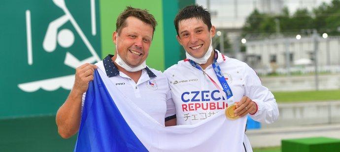 Zlatý medailista Jiří Prskavec s tátou a trenérem