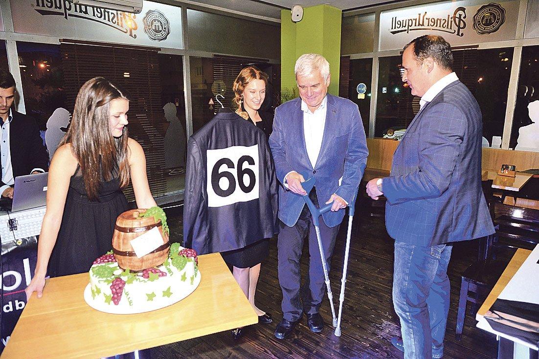 Štěpánek na oslavě svých 66. narozenin.